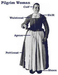 Standard outfit for a yeoman class woman in the 1620s, i.e. a Pilgrim coming to Plymouth.