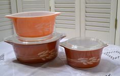 Vintage Pyrex Autumn Harvest Wheat Casserole Set by PanchosPorch