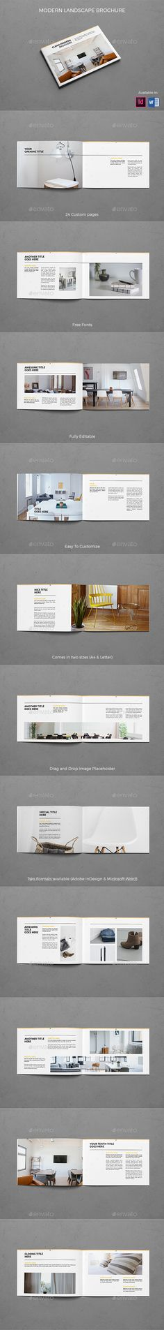 Landscape Clean Modern Brochure Template InDesign INDD