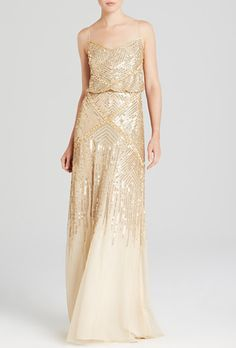 Adrianna Papell Sleeveless Beaded Blouson Gown - Exclusive Women - All Women - Bloomingdale's Metallic Bridesmaid Dresses, Gold Bridesmaids, Designer Bridesmaid Dresses, Gold Sequence Bridesmaid Dresses, Bridesmaid Ideas, Bridesmaid Gowns, Wedding Dress Styles, Wedding Gowns, Gold Dress