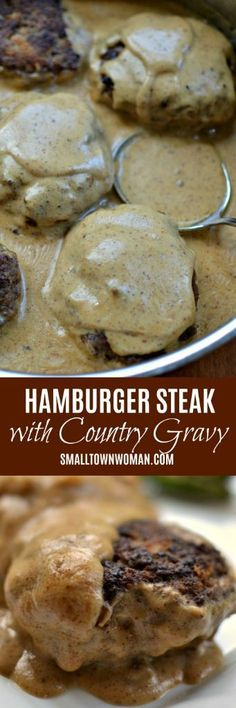 Hamburger Steak With Country Gravy Hamburger Steak Ground Beef Recipe One Skillet One Skillet Dinners Dinner Easy Ground Beef Recipe Gravy Recipe Steak With Country Gravy Beef Dishes, Food Dishes, Main Dishes, Sauce Hamburger, Hamburger Recipes, Healthy Hamburger, Hamburger Steaks, Hamburger Casserole, Meat Recipes For Dinner