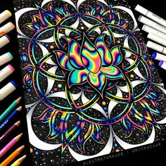 43 Ideas Tattoo Flower Of Life Sacred Geometry Pictures For 2019 Trippy Painting, Galaxy Painting, Galaxy Art, Trippy Drawings, Psychedelic Drawings, Art Drawings, Sharpie Drawings, Dope Kunst, Stoner Art