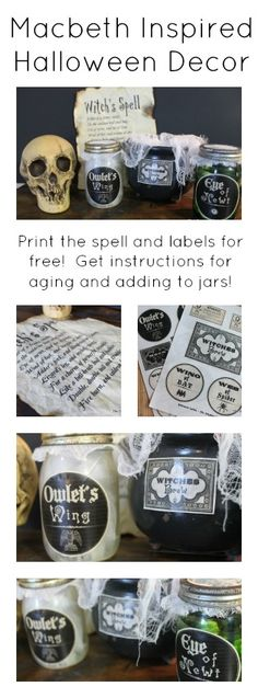 MacBeth inspired Halloween decor -- print spell and labels for FREE here!  Then age and add to jars!  A fun display for a spooky Halloween!