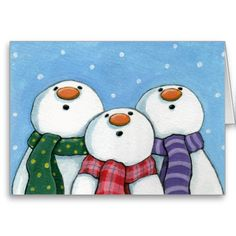 "<img src=""http://i702.photobucket.com/albums/ww27/LisaMarieArt/tba-award.jpg"" width=""350"" height=""50"" /><br/><br/>3 whimsical snowmen staring at the falling snow in awe. Fun Christmas greeting card. Created from an original painting  2008 Lisa Marie Robinson<br/><br/>"