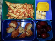 Kid Bento Lunch -Sauced Penne -Chocolate Covered Sunflower Seeds -Cheese Stick -Meatball -Grapes