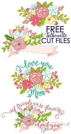 Floral Free Silhouette Cut files. Perfect for Mother's Day