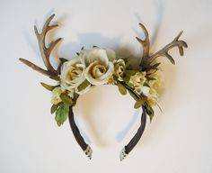 Rites of Spring Deer Antler Floral Hairpiece by sweetmildred