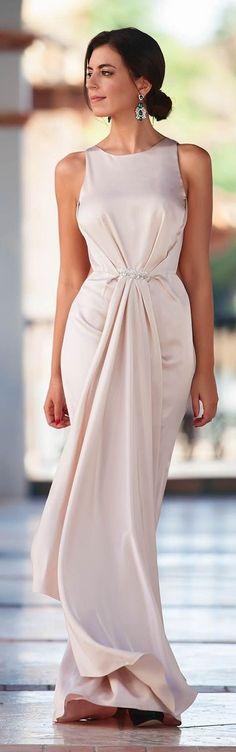 #nude #neutrals #spring #style #outfitideas |Silvia Navarro Nude Gown |1sillaparamibolso