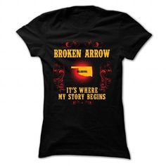 Broken Arrow - Its where story begin - #bachelorette shirt #raglan tee. LOWEST SHIPPING => https://www.sunfrog.com/Names/Broken-Arrow--Its-where-story-begin-Black-Ladies.html?68278