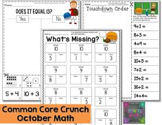 Fall Freebies and Common Core Crunch - October