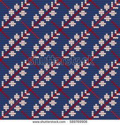 Traditional knitting pattern for Ugly Sweater, vector seamless pattern with herbs