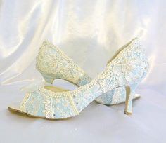 Something Blue mid heelbaby blue lacey wedding by tlccreationsuk, $275.00
