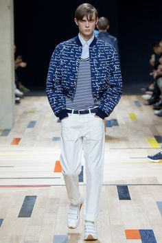 Cropped bomber.. dont really like it but the signature prints is quite interesting. Would prefer it on a regular length bomber.  Dior Homme   Spring 2015 Menswear Collection   Style.com