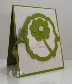 Learn how to make this fun card using the Fashionable Hearts St. Patrick's Day Card.  Video at: http://www.catherinepooler.com/2012/01/fashionable-hearts-2-st-patricks-cay-card-making/