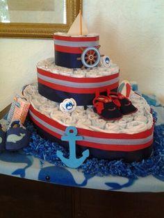 Diaper boat nautical theme