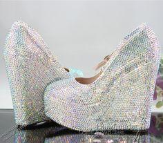 wedding wedges with rhinestones   Rhinestone Crystal Wedding Wedge Shoe White Wedding Wedge Silver ...