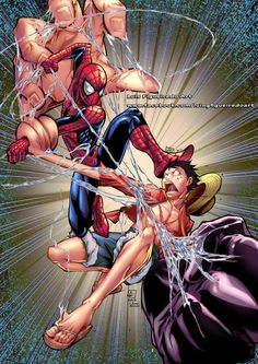 SPIDERMAN (Marvel) vs LUFFY (One Piece) Collab by marvelmania.deviantart.com on @DeviantArt