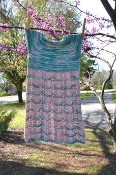 Free Pattern Friday - the Sakura Dress is a sweet Springtime treat knit in Universal Yarn Bamboo Pop.