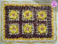 Tapete de Crochê com Flores Azuis e Fio Barroco