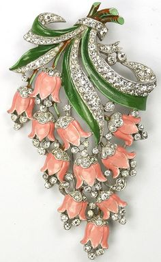 Trifari with Crown 'Pink Lillies' Brooch 1940
