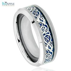 His Hers 8mm Tungsten Beveled Edge Celtic Knot Dragon over Blue  Inlay Wedding Engagement Band Ring