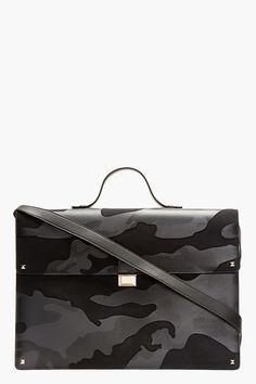 VALENTINO Navy Leather camo Print Briefcase