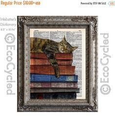 New to EcoCycled on Etsy: SALE Cat and Books 2 on Vintage Upcycled Dictionary Art Print Book Art Print Recycled Reading Read Literacy (8.50 USD)