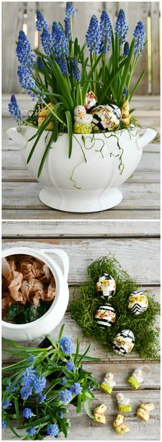 Easter centerpiece with muscari, eggs and Lindt mini chocolate bunnies and chicks | ©homeiswheretheboatis.net Branch Centerpieces, Simple Centerpieces, Easter Table Decorations, Easter Centerpiece, Snowball Viburnum, Cabbage Flowers, Easter Monday, Spring Flowering Bulbs, Speckled Eggs