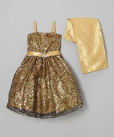 Another great find on #zulily! Sophia Young Gold Sequin Flower Dress & Shawl - Toddler & Girls by Sophia Young #zulilyfinds