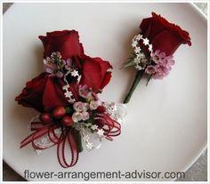Corsage And Boutonniere - Matching Wedding Corsages and Boutonnieres  - matching, and not just a plain lone rose boutonnière.
