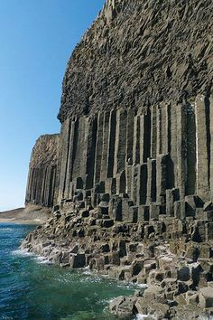 Basalt columns in the Hebrides. Isle of Staffa