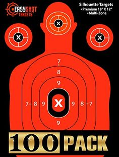 "50% OFF - Highest Quality Silhouette Targets For Shooting at the Lowest Price - 150 FREE Repair Stickers - HIGH-VIS NEON ORANGE, Bright and Colorful for EASY TO SEE Gun Shot Placement - Size 18"" X 12"". 100-PACK MAXIMUM VISIBILITY SILHOUETTE SHOOTING TARGETS with 500+ 5-STAR reviews: The FLUORESCENT ORANGE COLOR lets you CLEARLY SEE YOUR SHOTS land even in low light. No need to walk to target and stop the fun. Save when you buy the 50 or 100-packs. USED & RECOMMENDED BY LAW ENFORCEMENT…"