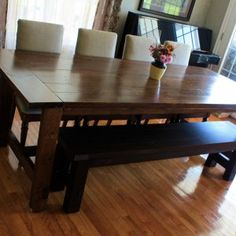 Ana White Super Big Farmhouse Dining Table And Bench Diy Projects For  Measurements 4272 X 2848 Wood Kitchen Table With Bench Seating   With All  The Space A