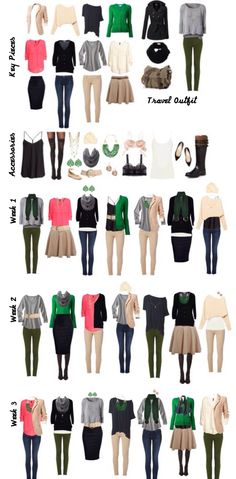 Made my own easy packing list. Just a few key pieces, multiple outfit options ^_^