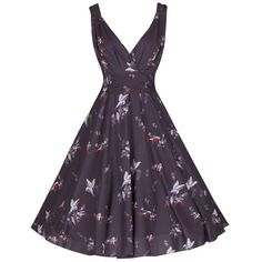 c3f8ff3663 1950s Mocha Purple Bird Print Swing Dress. 1950s Mocha Purple Bird Print  Swing Dress - Pretty Kitty Fashion