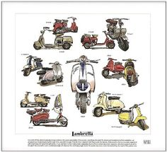 Lambretta Scooter, Vespa Scooters, Vespa Models, Club Poster, Retro Cars, Italian Style, Cars And Motorcycles, Vintage Posters, Illustrations Posters