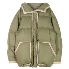 94079f3e88fae Olive puffy oversized down jacket with sand leather trim throughout. Snap  on detachable hood. Hidden two-way zipper down the front and two front  patch ...