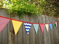 Chevron Classroom Primary Color Fabric Bunting Banner - Sesame Street  Circus  Nursery Room Decor - Red Yellow Blue & Green - 9 Large Flags