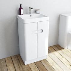 Mode Ellis white cloakroom floorstanding vanity unit and basin 450mm Cloakroom Basin, Downstairs Cloakroom, Downstairs Toilet, Master Bathroom, Under Sink Storage Unit, Basin Design, Basin Mixer Taps, Neat And Tidy, Vanity Units