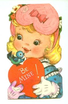 Vintage UNUSED Little Girl Wears Heart Bonnet Talks to Bluebird Gibson Classroom Exchange Valentine Unsigned Colorful Die Cut Valentine Picture, Happy Valentines Day Card, Valentine Images, My Funny Valentine, Vintage Valentine Cards, Vintage Greeting Cards, Valentine Crafts, Vintage Postcards, Vintage Images
