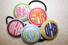 Monogrammed Ponytail Holder Hair Tie by GoodSportDesigns on Etsy, $5.50....perfect for the monogram lover