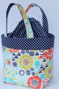 Waterproof Insulated LUNCH TOTE Navy Polka Dot and Floral