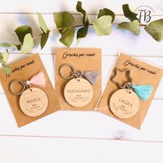 custom round wooden key ring with tassel wedding - Arthur Marlow Resin Crafts, Wood Crafts, Diy And Crafts, Paper Crafts, Christmas Decorations For Kids, Christmas Diy, Jewelry Packaging, Customized Gifts, Wood Art