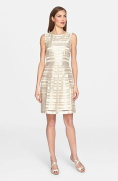 Tahari Organza Stripe Fit & Flare Dress available at #Nordstrom