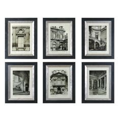 Uttermost Paris Scene I, II, III, IV, V, VI by Grace Feyock 6 Piece Painting Print Shadow Box Set
