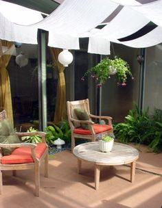 9 Types of Outdoor Living Spaces: Atrium Outdoor Curtains, Outdoor Rooms, Outdoor Living, Outdoor Decor, Outdoor Fabric, Outdoor Ideas, Patio Shade Structures, Patio Design, House Design
