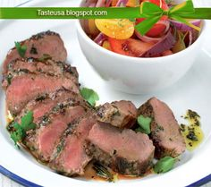 lamb fillet with tomato and basil salad