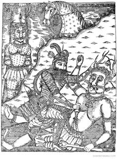 Rostam kills White Deev, illustrated by Mirza Ali-Qoli Khoi, 1851-1853, Tehran