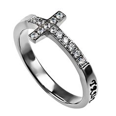 'True Love Waits' - Women's Sideway Cross Ring on SonGear.com - Christian Shirts, Jewelry