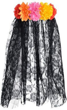 Floral Black Lace Veil - Day of the Dead - Party City